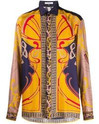 mehrfarbiges bedrucktes Langarmhemd von Versace Collection