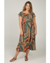 mehrfarbiges bedrucktes schulterfreies Kleid von Paprika