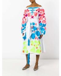 mehrfarbiges bedrucktes schulterfreies Kleid von Yuliya Magdych