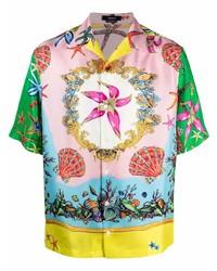 mehrfarbiges bedrucktes Seide Kurzarmhemd von Versace