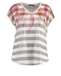 mehrfarbiges bedrucktes T-Shirt mit einem Rundhalsausschnitt von JETTE