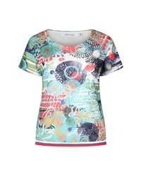 mehrfarbiges bedrucktes T-Shirt mit einem Rundhalsausschnitt von Paprika