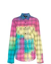 mehrfarbiges Businesshemd mit Batikmuster