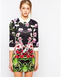 mehrfarbiges figurbetontes Kleid mit Blumenmuster von Ted Baker