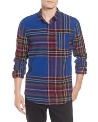 mehrfarbiges Flanell Langarmhemd mit Schottenmuster