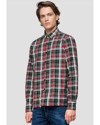 mehrfarbiges Flanell Langarmhemd mit Schottenmuster von Replay
