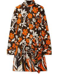 mehrfarbiges gerade geschnittenes Kleid mit Blumenmuster von Prada