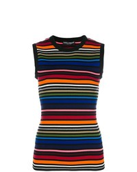 mehrfarbiges horizontal gestreiftes ärmelloses Oberteil von Dolce & Gabbana
