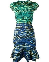 mehrfarbiges horizontal gestreiftes Cocktailkleid von M Missoni
