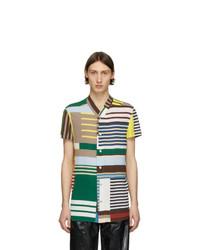 mehrfarbiges horizontal gestreiftes Kurzarmhemd von Rick Owens