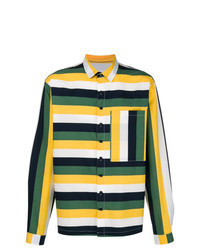 mehrfarbiges horizontal gestreiftes Langarmhemd
