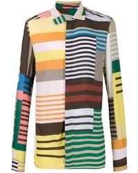 mehrfarbiges horizontal gestreiftes Langarmhemd von Rick Owens