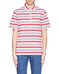 mehrfarbiges horizontal gestreiftes Polohemd