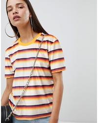 mehrfarbiges horizontal gestreiftes Samt T-Shirt mit einem Rundhalsausschnitt von The Ragged Priest