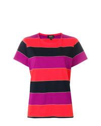 mehrfarbiges horizontal gestreiftes T-Shirt mit einem Rundhalsausschnitt