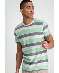 mehrfarbiges horizontal gestreiftes T-Shirt mit einem Rundhalsausschnitt von GARCIA