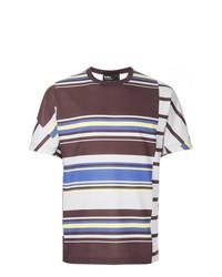 mehrfarbiges horizontal gestreiftes T-Shirt mit einem Rundhalsausschnitt von Kolor
