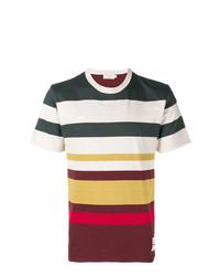 mehrfarbiges horizontal gestreiftes T-Shirt mit einem Rundhalsausschnitt von MAISON KITSUNÉ