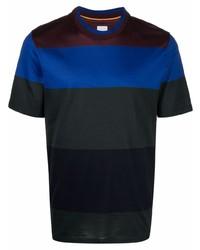 mehrfarbiges horizontal gestreiftes T-Shirt mit einem Rundhalsausschnitt von Paul Smith