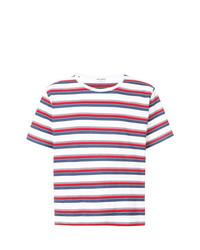 mehrfarbiges horizontal gestreiftes T-Shirt mit einem Rundhalsausschnitt von Saint Laurent