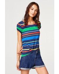 mehrfarbiges horizontal gestreiftes T-Shirt mit einem Rundhalsausschnitt von Esprit