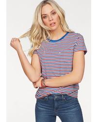 mehrfarbiges horizontal gestreiftes T-Shirt mit einem Rundhalsausschnitt von Levi's