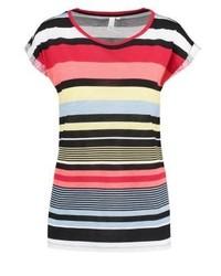 mehrfarbiges horizontal gestreiftes T-Shirt mit einem Rundhalsausschnitt von s.Oliver