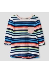 mehrfarbiges horizontal gestreiftes T-shirt