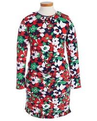 mehrfarbiges Kleid mit Blumenmuster