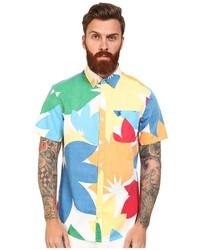 mehrfarbiges Kurzarmhemd mit Blumenmuster