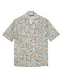 mehrfarbiges Kurzarmhemd mit Blumenmuster von Gucci