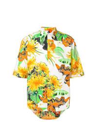 mehrfarbiges Kurzarmhemd mit Blumenmuster von MSGM