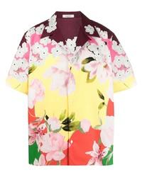 mehrfarbiges Kurzarmhemd mit Blumenmuster von Valentino