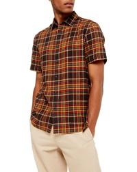 mehrfarbiges Kurzarmhemd mit Schottenmuster