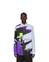 mehrfarbiges Langarmhemd mit Batikmuster