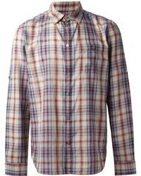 mehrfarbiges Langarmhemd mit Schottenmuster