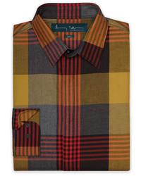 Mehrfarbiges Langarmhemd mit Schottenmuster von Perry Ellis