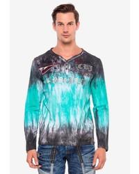 mehrfarbiges Mit Batikmuster Langarmshirt mit einer Knopfleiste von Cipo & Baxx