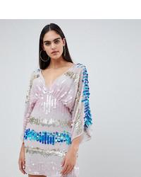 mehrfarbiges Pailletten Cocktailkleid von Asos Tall