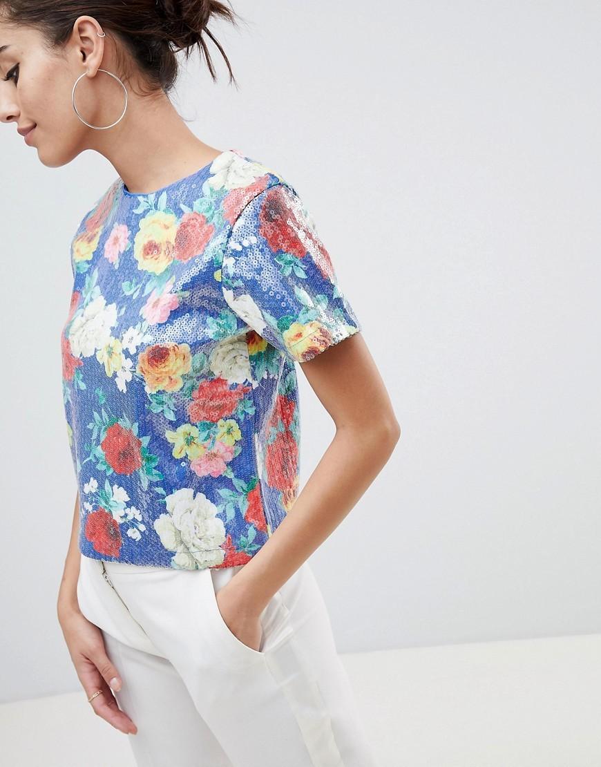 mehrfarbiges Pailletten T-Shirt mit einem Rundhalsausschnitt mit Blumenmuster von ASOS DESIGN