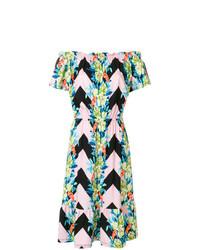 mehrfarbiges schulterfreies Kleid mit Blumenmuster von Etro
