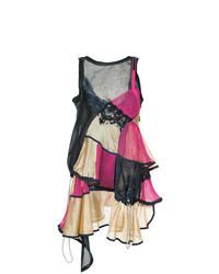 mehrfarbiges schwingendes Kleid mit Rüschen von Sacai