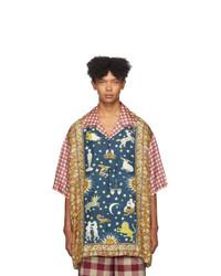 mehrfarbiges Seide Kurzarmhemd mit Karomuster von Gucci