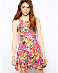 mehrfarbiges Skaterkleid mit Blumenmuster