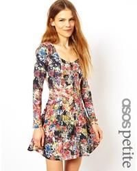 mehrfarbiges Skaterkleid mit Blumenmuster von Asos Petite