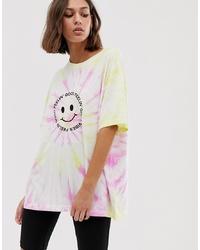 mehrfarbiges Mit Batikmuster T-Shirt mit einem Rundhalsausschnitt von Weekday