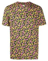 mehrfarbiges T-Shirt mit einem Rundhalsausschnitt mit Blumenmuster von Paul Smith