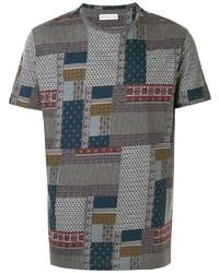 mehrfarbiges T-Shirt mit einem Rundhalsausschnitt mit Flicken von Etro