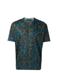 mehrfarbiges T-Shirt mit einem Rundhalsausschnitt mit Leopardenmuster von DSQUARED2