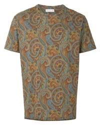 mehrfarbiges T-Shirt mit einem Rundhalsausschnitt mit Paisley-Muster von Etro